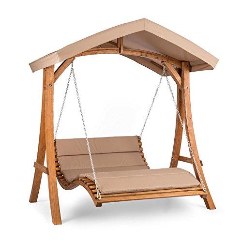 blumfeldt Bermuda • Hollywoodschaukel • Gartenschaukel • Sitzfläche130 cm • Belastung max 240 kg • Lärchenholz • Weichholz • witterungsbeständig • Sonnendach • 5 cm Polyester Sitz-Kissen • beige