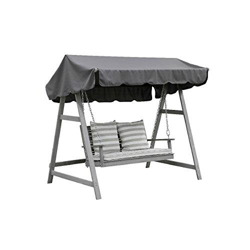 greemotion 128653 Hollywoodschaukel Maui aus Holz in Grau-Gartenschaukel 2 Sitzer-Schaukel Hollywood Akazie massiv-Hollywoodliege für Garten Balkon Terrasse 223 x 7 x 15 cm