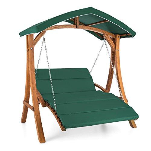 blumfeldt Aruba • Hollywoodschaukel • Hängesessel • Gartenschaukel • max 240 kg • Lärchenholz • Weichholz • witterungsbeständig • Sonnendach • Edelstahl-Ketten • 4 cm Polyester Sitz-Kissen • grün