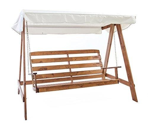 Ambientehome Hollywoodschaukel 3-Sitzer Holzschaukel Schaukel Massivholz VETLANDA braun