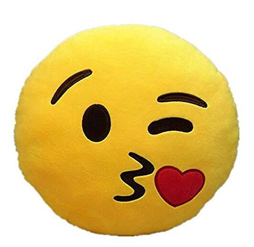 Hemore Niedliches Weiches Plüsch-Emoji-Kissen mit Smiley-Motiv rund Gelb