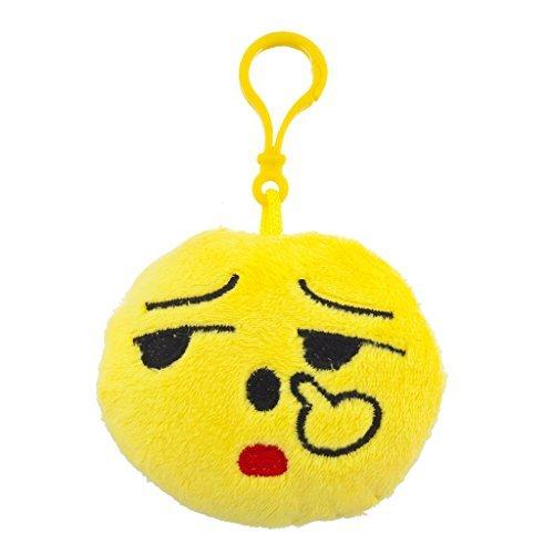 LUX Zubehör Gelb Emoji-Fuck You Face Stoff Kissen Bag Charm Schlüssel Kette