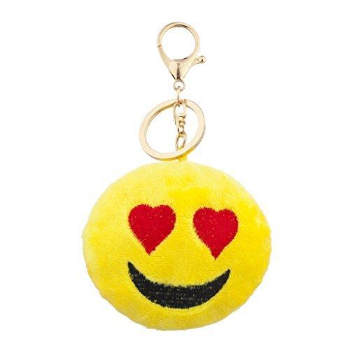 LUX Zubehör Gelb Emoji-Love Struck Face Stoff Kissen Bag Charm Schlüssel Kette