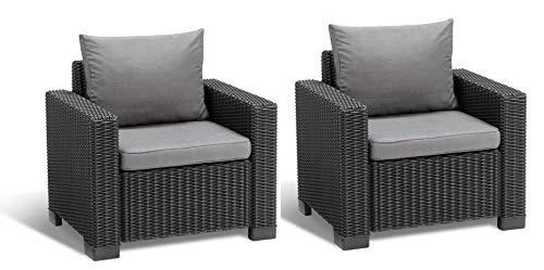 Allibert Lounge Sessel California 2er Set mit Kissen graphitpanama cool grey