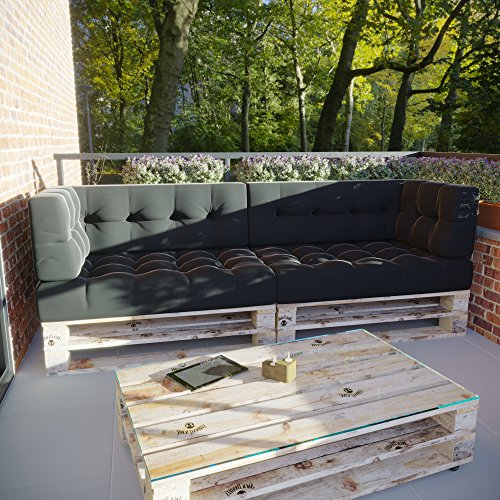 MSS 6er-Set Relax Palettenkissen Palettenposter Palettensofa Anthrazit Hell Dunkel