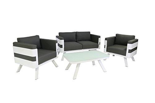 greemotion Alu Lounge-Set St Tropez 4-teilig Gartenmöbel-Set aus Aluminium inkl Kissen Design Sitzgruppe für Indoor Outdoor weißgrau