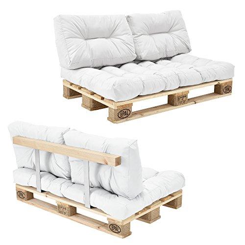 encasa Euro Paletten-Sofa - DIY Möbel - Indoor Sofa mit Paletten-Kissen  Ideal für Wohnzimmer - Wintergarten 1 x Sitzauflage und 2 x Rückenkissen Weiß - inkl 2 Europaletten  Rückenlehne