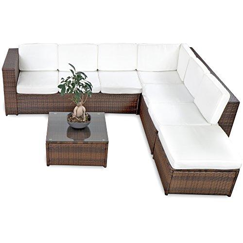 XINRO 19tlg XXXL Polyrattan Gartenmöbel Lounge Sofa günstig - Lounge Möbel Lounge Set Polyrattan Rattan Garnitur Sitzgruppe - InOutdoor - handgeflochten - mit Kissen - braun