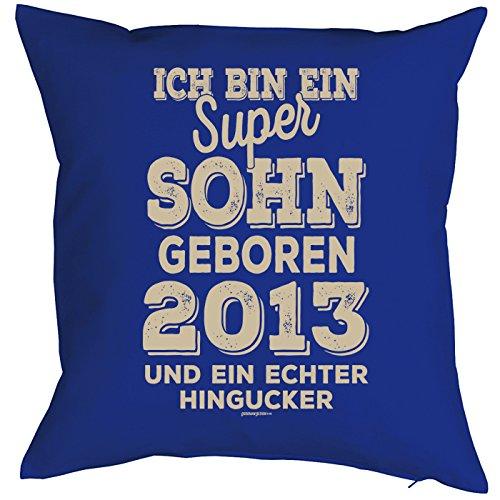 Goodman Design  Kissen mit tollem Motiv Ich Bin EIN super Sohn geboren 2013 und EIN echter Hingucker - couchkissen - Kissen - Royalblau