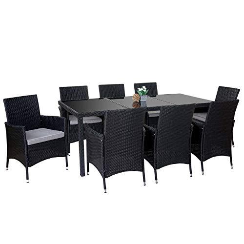 Mendler Poly-Rattan-Garnitur Terni Garten Sitzgruppe Tisch  8 Sessel Alu ~ anthrazit Kissen hellgrau