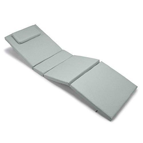 Nexos GL06027 Divero Liegen-Auflage Polster Kopfkissen für Sauna Garten Terrasse hochwertig hellgrau grau