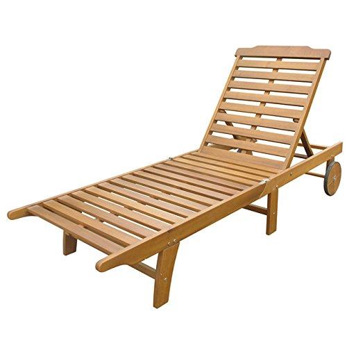 Sonnenliege PALM SPRINGS klappbar Rollliege Eukalyptus Holz Gartenliege Holzliege
