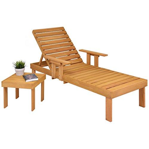 COSTWAY Sonnenliege mit Ablagetisch Gartenliege Liegestuhl Relaxliege Strandliege Poolliege Holzliege mit Gartentisch Beistelltisch Anstelltisch Konsolentisch Kaffeetisch Balkontisch Holztisch
