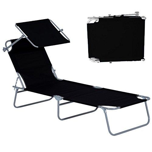 HENGMEI Klappbar Liegestuhl Gartenliege Relaxliege Sonnenliege mit Dach Schwarz