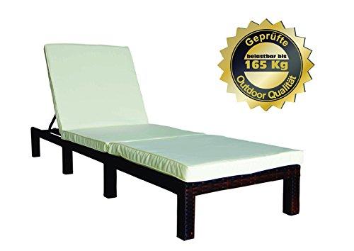 MK Outdoor Rattan Rattanliege Lounger-B belastbar bis 165 kg mehrfach verstellbare Rückenlehne braun Gartenliege Relaxliege Liegestuhl Sonnenliege Rattanmöbel