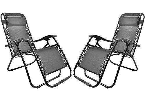 Merax Sonnenliege Strandstuhl Relaxliege Gartenliege Liegestuhl mit Kopfkissen klappbar und verstellbar Gartenliege Relax-Liegestuhl 2 Schwarz