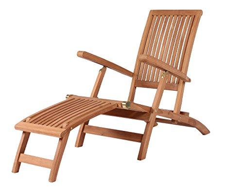 Mr Deko Teak Deckchair Teak - Bear Chair - Liegestuhl - Relaxliege - Gartenliege - Outdoormöbel - Teakholz - für Balkon Terrasse Wintergarten Garten Yacht