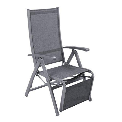 OUTLIV Klappliegestuhl Garten Relaxliege Liveda Liegestuhl mit Fußstütze klappbar Relaxliege AluTextilene Relaxsessel EisengrauGrau
