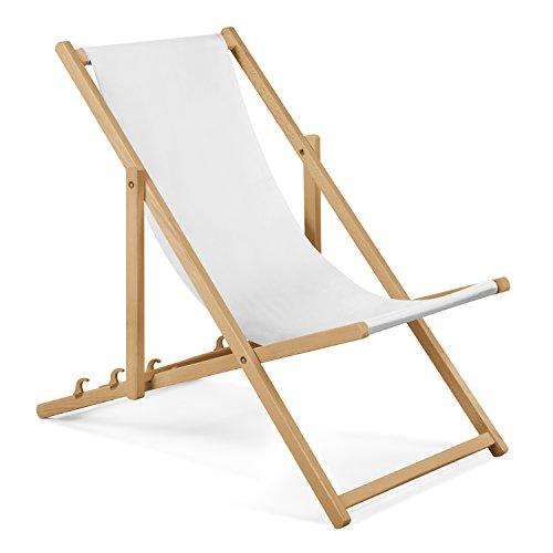 Unbekannt Gartenliege aus Holz Liegestuhl Relaxliege Strandliege Weiß GRATIS Absicherndes Einstellungssystem