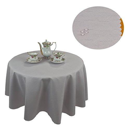 KMP Tischdecke abwaschbar Tischläufer Gartentischdecke Leinen Optik Rechteckig Rund 140 cm Rund Grau