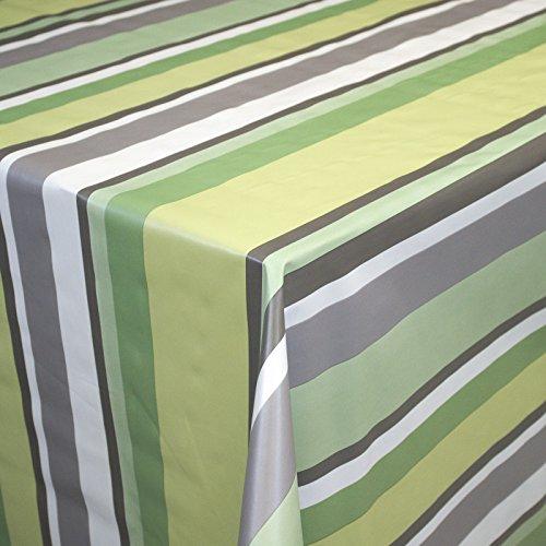 Neumann Handelsvertrieb Wachstuch  Tischdecke abwaschbar Biertischdecke mit Fleecerücken 200 cm x 140 cm Grün Weiß gestreift