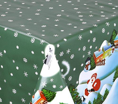 WACHSTUCH TISCHDECKE abwischbar Meterware Größe wählbar 200x140 cm Glatt Weihnachten Bescherung Grün