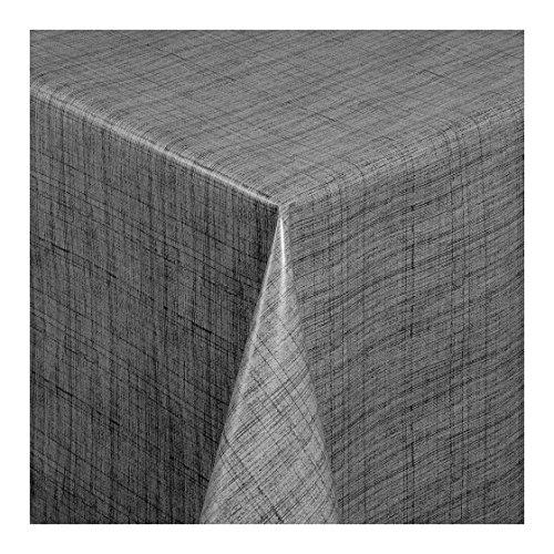 Wachstuch Tischdecke Wachstischdecke Gartentischdecke Abwaschbar Meterware Länge wählbar Leinenoptik Grau 127-04 100cm x 140cm