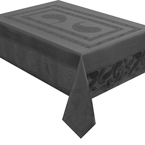 Celebrate deluxe Tafeldecke - Farbe Form und Größe wählbar - Eckig 130 x 220 cm Anthrazit  Grau Lotus Effekt - Jacquard Damast Tischdecke