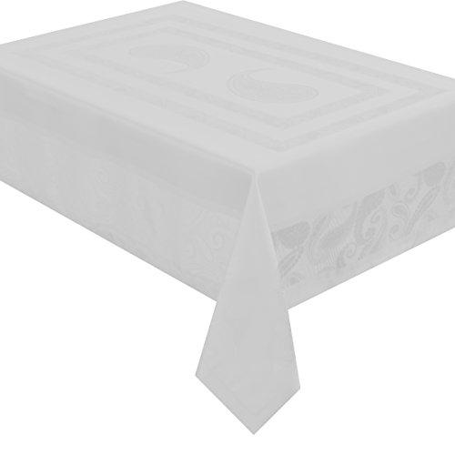 Celebrate deluxe Tafeldecke - Farbe Form und Größe wählbar - Eckig 130 x 220 cm Weiss Lotus Effekt - Jacquard Damast Tischdecke