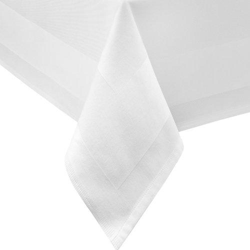 DAMAST Tischdecke Gastro Edition Eckig Rund Weiß mit Atlaskante Größe wählbar DAMAST Tischwäsche  Serviette  Tischläufer von DecoHometextil - 140x140