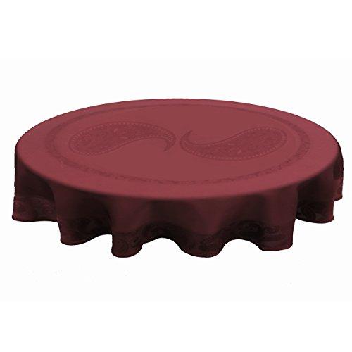 Garten Tischdecke Farbe Form wählbar - Persian Modern Oval 160 x 220 cm Dunkelrot  Rot Lotus Effekt - Jacquard Damast Tischdecke