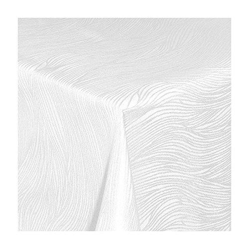 TEXMAXX Damast Tischdecke Maßanfertigung im Fantasia-Design in weiss 150x350 cm eckig weitere Längen und Farben wählbar