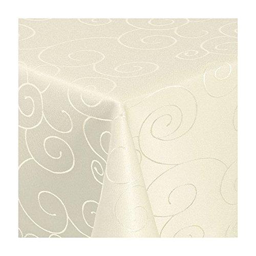 TEXMAXX Damast Tischdecke Maßanfertigung im Ornamente-Design in creme-champagner 140x320 cm eckig weitere Längen sind wählbar