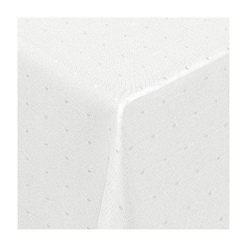 TEXMAXX Damast Tischdecke Maßanfertigung im Punkte-Design in weiss 120x270 cm eckigweitere Längen und Farben wählbar