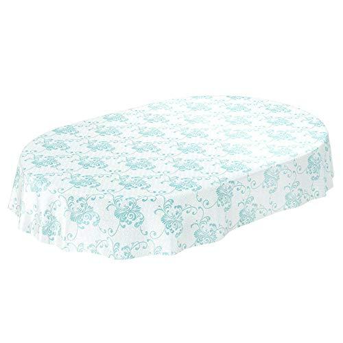 ANRO Wachstuchtischdecke Wachstuch Wachstischdecke Tischdecke abwaschbar Meergrün Rankenmuster Geometrie Oval 140 x 180cm
