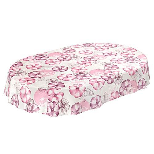 ANRO Wachstuchtischdecke Wachstuch Wachstischdecke Tischdecke abwaschbar Purpur Rosa Blumen Mohnblumen Oval 140 x 180cm