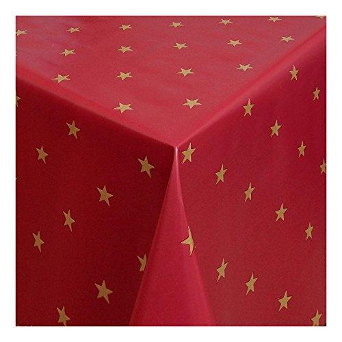 Wachstuch Tischdecke Wachstischdecke Gartentischdecke Abwaschbar Meterware Länge wählbarChristmas Star Goldene Sterne auf rotem Grund 280-03 340cm x 140cm