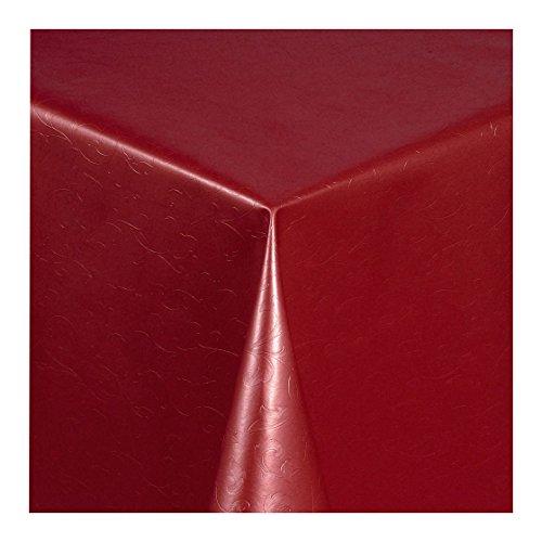 Wachstuch Tischdecke Wachstischdecke Gartentischdecke Abwaschbar Meterware Länge wählbar Hochwertig Geprägtes Ranken Design in Bordeaux 305-03 190cm x 140cm