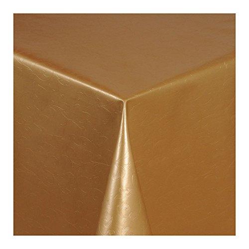 Wachstuch Tischdecke Wachstischdecke Gartentischdecke Abwaschbar Meterware Länge wählbar Hochwertig Geprägtes Ranken Design in Gold 305-10 200cm x 140cm