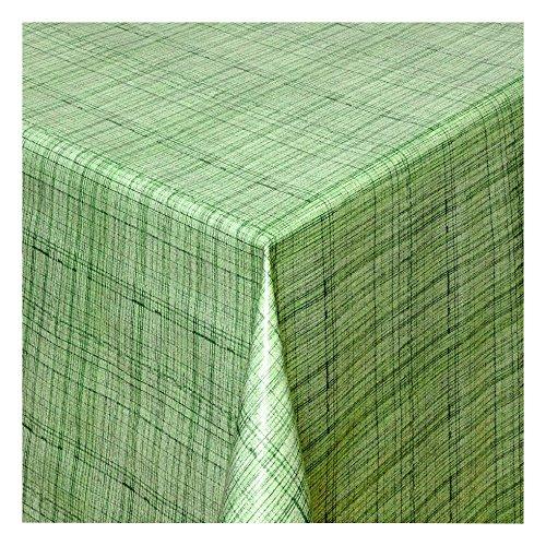 Wachstuch Tischdecke Wachstischdecke Gartentischdecke Abwaschbar Meterware Länge wählbar Leinen Optik Grün 127-03 100cm x 140cm