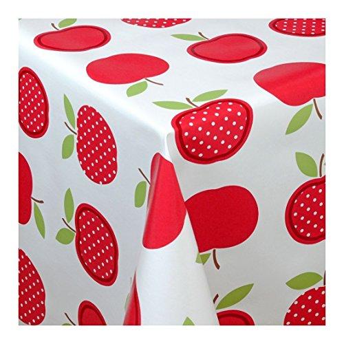 Wachstuch Tischdecke Wachstischdecke Gartentischdecke Abwaschbar Meterware Länge wählbar Red Apples Äpfel Rot Weiß 623-02 270cm x 140cm