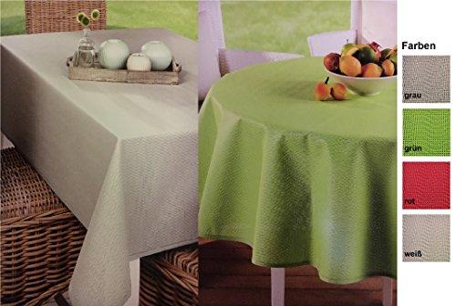 Outdoor Tischdecke Garten Wachstuch wetterfest - rund eckig oder oval - sehr hochwertige Verarbeitung - perfekt als Garten und Terrassen Tisch Decke für den Ganzjahres Einsatz geeignet oval 130 x 180 cm Grau