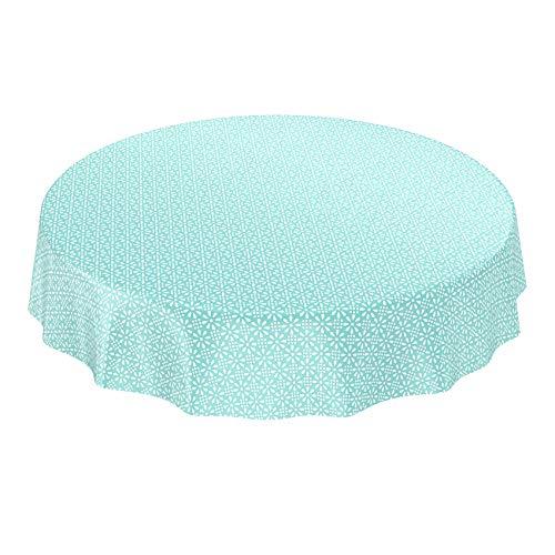 ANRO Tischdecke Wachstuch Wachstischdecke Wachstuchtischdecke abwaschbar Meergrün Minze Retro Uni Trend Rund 120cm