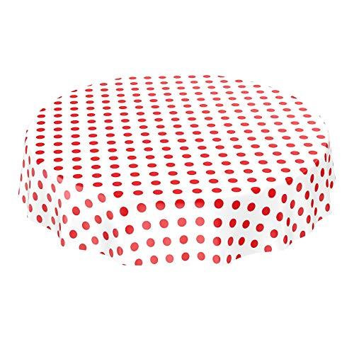 ANRO Wachstuchtischdecke Wachstuch Wachstischdecke Tischdecke Rot Weiß Tupfen Punkte Gepunktet Dots Rund 120cm