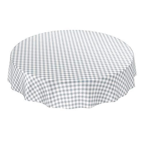 ANRO Wachstuchtischdecke Wachstuch Wachstischdecke Tischdecke Wachstuchdecke Karo Kariert Grau Rund 120cm