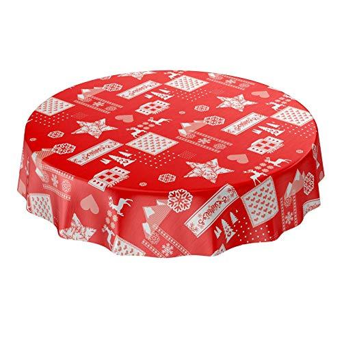 ANRO Wachstuchtischdecke Wachstuch abwaschbar Tischdecke Weihnachten Weihnachtsstimmung Rot Rund 120cm Schnittkante