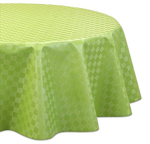 Wachstuchtischdecke OVAL RUND ECKIG Motiv u Größe wählbar Tischdecke abwischbar Rund 120 cm Reliefdruck - Quader Grün