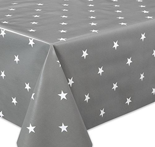 Wachstuchtischdecke OVAL RUND ECKIG Motiv u Größe wählbar Tischdecke abwischbar Rund 120 cm Sterne Grau Weiß