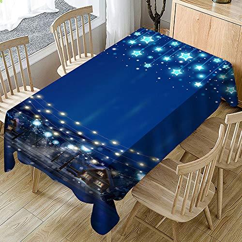 Ansenesna Tischtuch Abwaschbar Blau Sterne Weihnachten Rechteckig Tischdecke Stoff Gartentischdecke Weihnachtlich Deko Für Festlich Party Blau 140X180cm