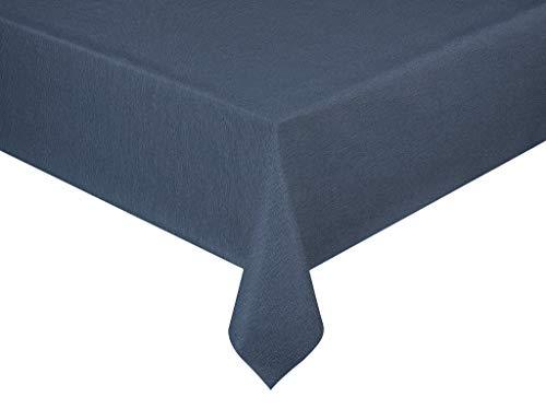 Wachstuch Premium Leinen Optik Blau · Eckig 140x270 cm · Farbe Länge wählbar· abwaschbare Tischdecke Gartentischdecke